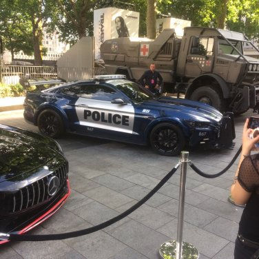 Transformers truck and security guard