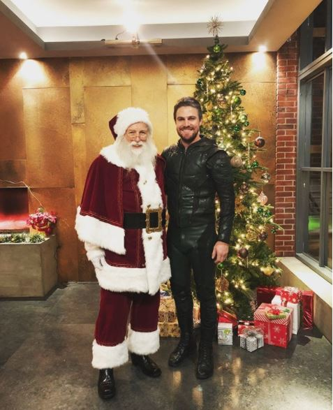 Stephen Amell and Santa