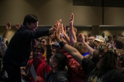 Goichi Suda Sharing a Moment with a Crowd at MomoCon 2018(Photo Credit Andrew Michael Phillips)